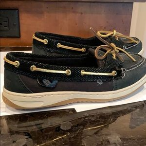New Sperry black topsiders leather and fabric